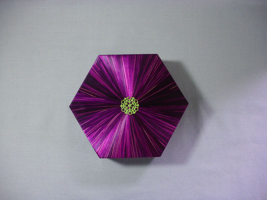 Boîte hexagonale estampe métal argenté (vendu)