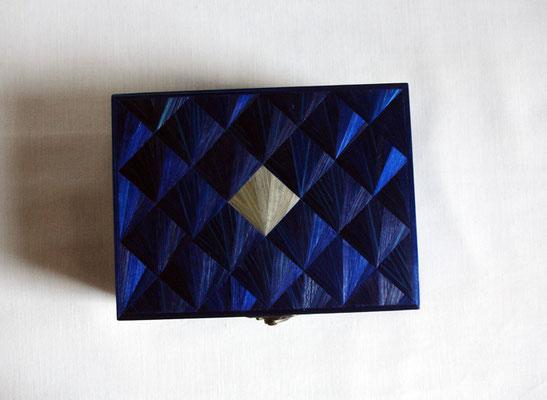 Coffret bleu nuit motif éventail (commande personnalisée - vendu)