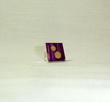 Bague bicolore paille or et violette (vendu)