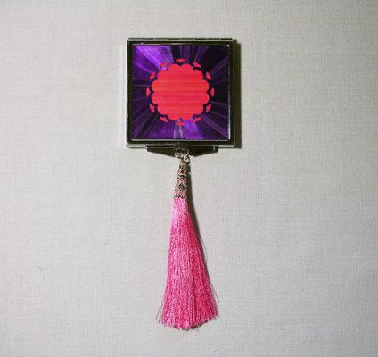 Miroir de poche paille rose et violette