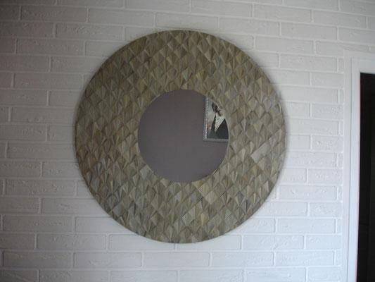 Miroir géant Ø 80 cm motifs éventails