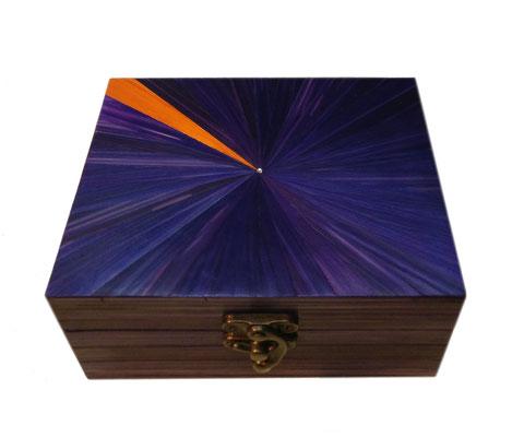 Coffret violet-orange & cristal Swarovski, intérieur paillé orange (vendu)