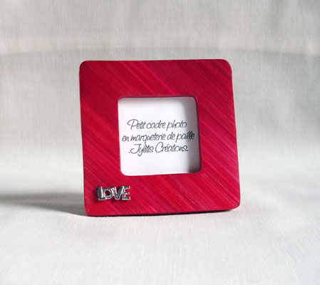 Petit porte photo rouge rubis estampe métal argenté