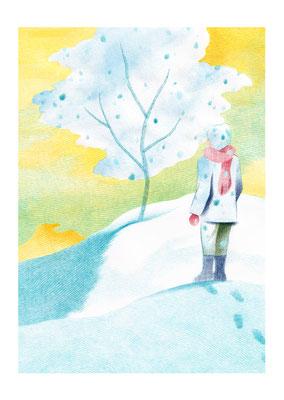 絵本「雪がふるのは」(文芸社)/やもとあや著 表1装画