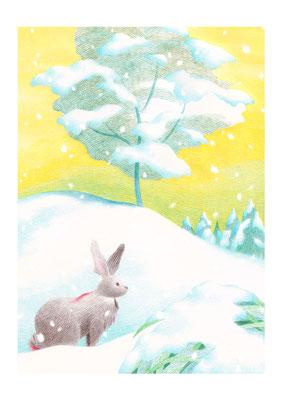 絵本「雪がふるのは」(文芸社)/やもとあや著 表4装画