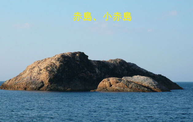 赤島 (タイ、青物)小赤島    手前:小赤島(アオリ、根魚)