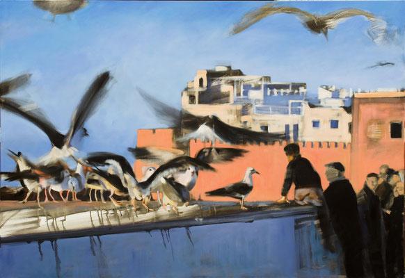 Im Hafen von Essaouira, 2020, Öl auf LW, 110 x 160
