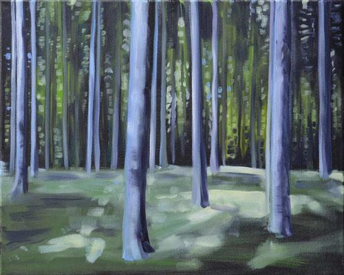 Waldstueck 1, 2016, Öl auf Leinwand, 40 x 50 (saled)