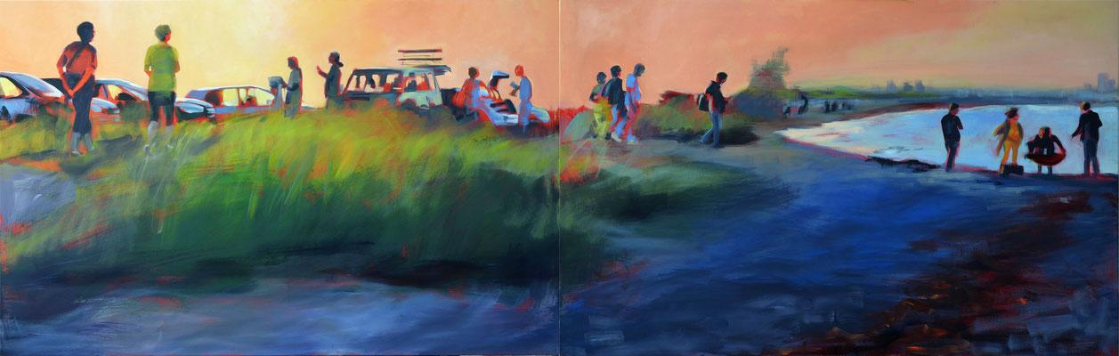 """September-Abend"", 2017, Öl auf Leinwand, 70 x 220, 2tlg"