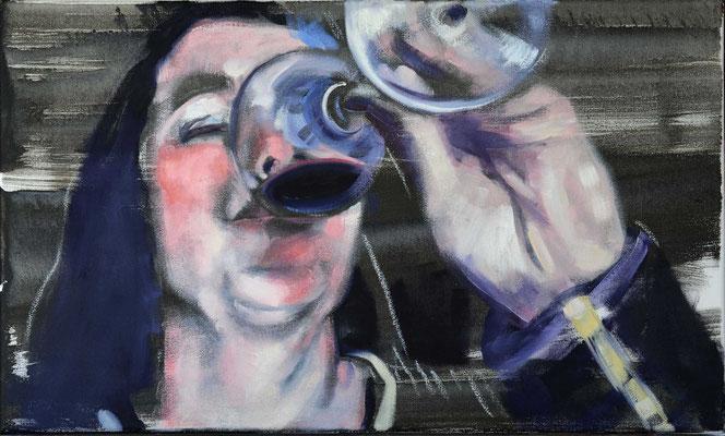 Prost (Mahlzeit), 2017, Öl auf LW, 30 x 50