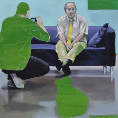 Sofa 4hoch2 #14, Öl auf Leinwand, 2014, 110 x 110