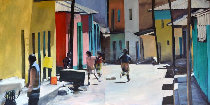 Aetiopien, Axum, 2018, Öl auf LW, 110 x 220, 2tlg