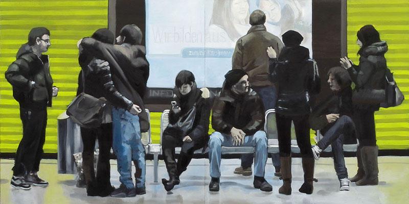 """""""Münchener Freiheit"""", Öl auf Leinwand, 2012, 110 x 220, 2tlg   (saled)"""