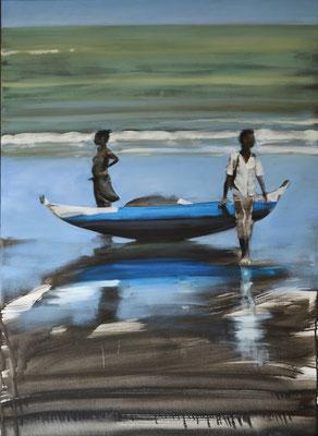 Madagaskar Fischer 3, 2018, Öl auf LW, 110 x 80