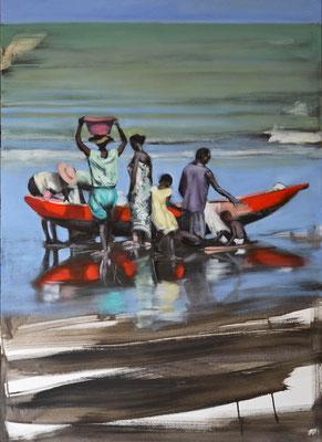 Madagaskar Fischer 4, 2018, Öl auf LW, 110 x 80