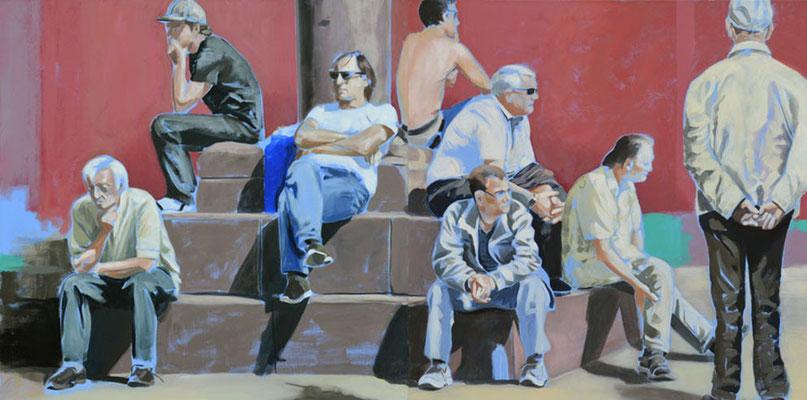 """denk mal"", Acryl auf Leinwand, 2012, 110 x 220, 2tlg   (saled)"