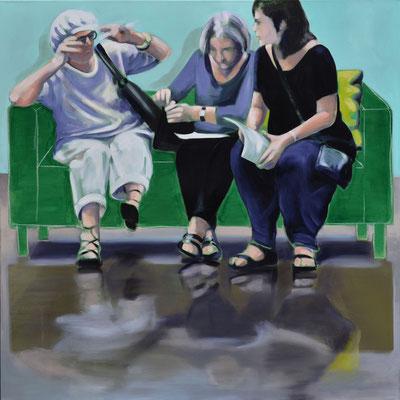 Sofa 4hoch2 #11, Öl auf Leinwand, 2014, 110 x 110