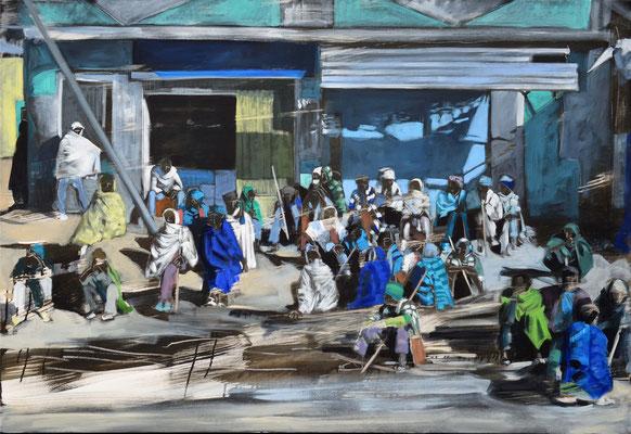 Männergesellschaft, 2019, Aryl/Öl auf LW, 110 x 160