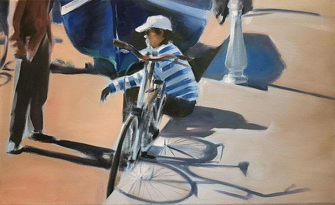 Fahrradpause, 2020, Öl auf LW, 30 x 50 (saled)