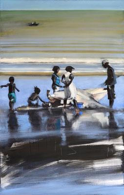 Madagaskar Fischer 1, 2018, Öl auf LW, 110 x 60 (saled)