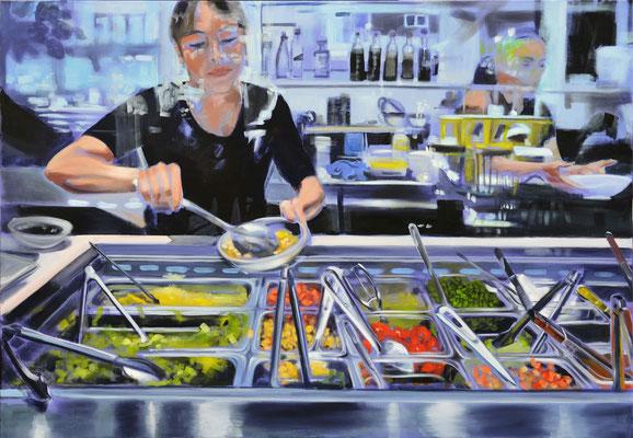 """Salat Bar"", 2017, Öl auf Leinwand, 110 x 110"