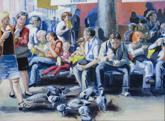 """kleines Fressen"", Acryl auf Leinwand, 2012, 110 x 160   (saled)"