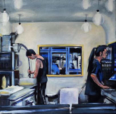 """young people 2"", 2017, Öl auf Leinwand, 70 x 70   (saled)"