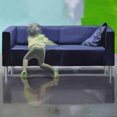 Sofa 4hoch2 #7, Öl auf Leinwand, 2014, 110 x 110