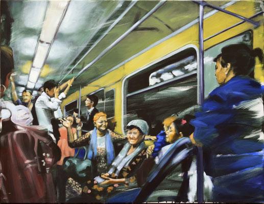 Metro - Taschkent, Öl auf LW, 100 x 130