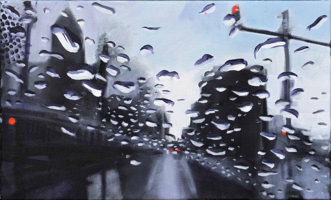 1.Unwetter in FF/M. 2016, Öl auf LW, 30 x 50    (saled)
