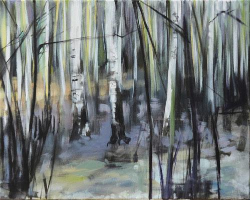 Waldstueck 5, 2016, Öl auf Leinwand, 40 x 50
