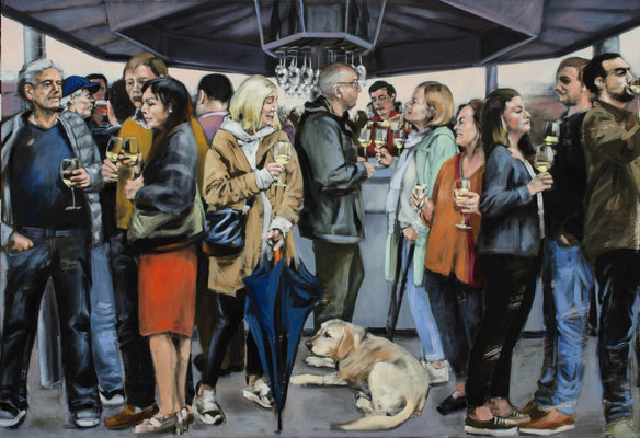 WeinStand, 2019, Öl auf Leinwand, 110 x 160