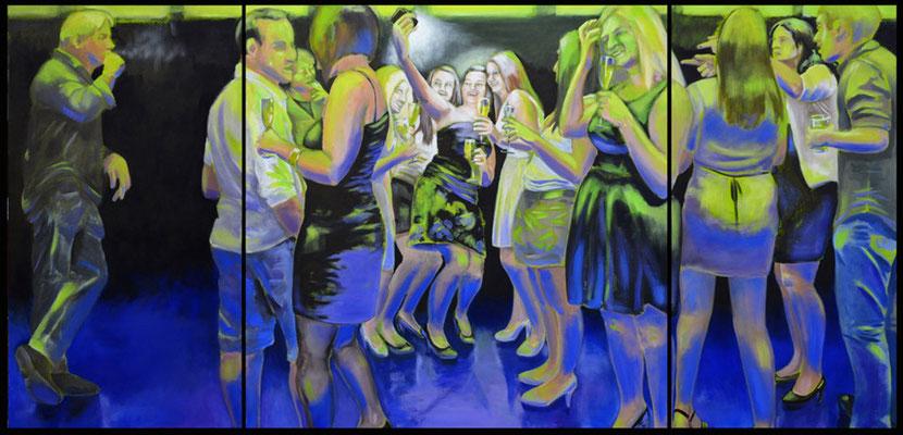 """""""abends mal"""", Öl auf Leinwand, 2012, 110 x 230, 3tlg"""