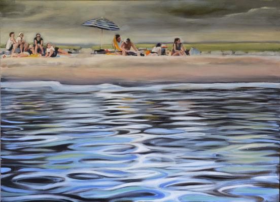 """Strandgelage"", Öl auf Leinwand, 2016, 100 x 150   (saled)"