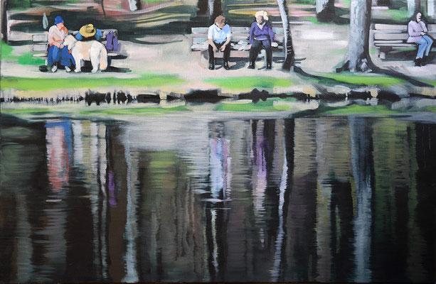 """Im Park"", Acryl auf Leinwand, 2014, 80 x 110   (saled)"