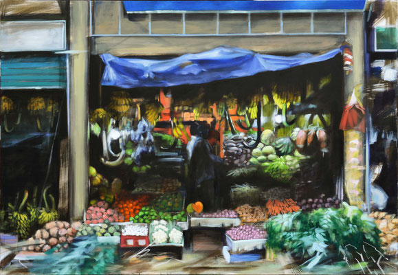 Vegetable Shop, Öl auf LW, 110 x 160