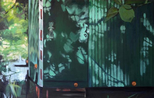 Bauwagen, 2015, Öl auf Leinwand, 70 x 110