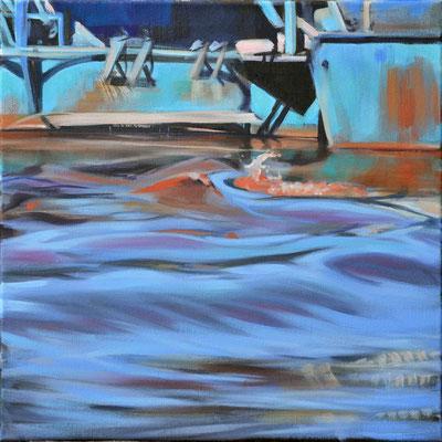 Wasserstueck2, Öl auf LW, 2017, 40 x 40