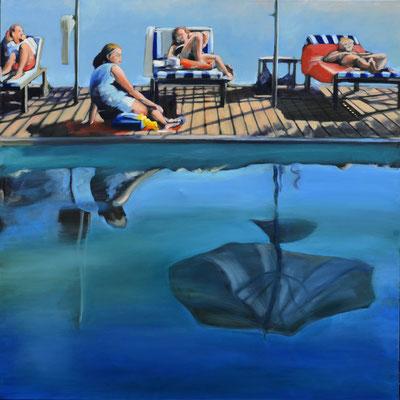 """""""Schwimmbad"""", 2018, Öl auf Leinwand, 110 x 110"""