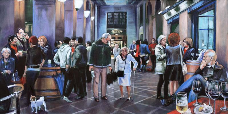"""cafe-bar-Bilbao"", 2016, Öl auf Leinwand, 110 x 220, 2tlg   (saled)"
