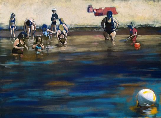 """Badende"", acryl auf Leinwand, 110 x 160   (saled)"
