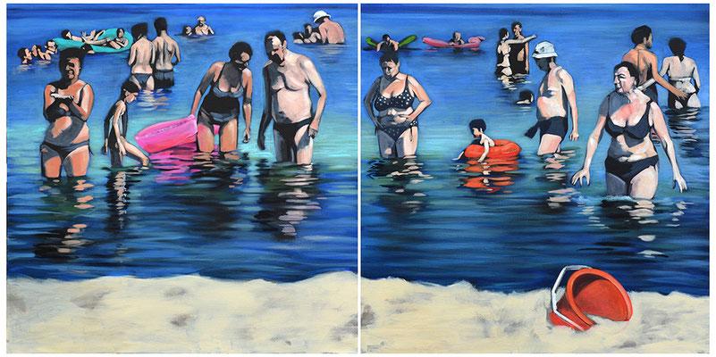 """""""Ostsee"""", Acryl auf Leinwand, 2013, 110 x 220, 2tlg   (saled)"""