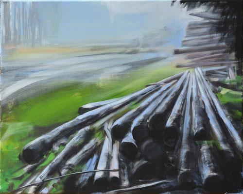 Waldstueck 6, 2016, Öl auf Leinwand, 40 x 50 (saled)