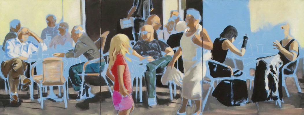 """Straßencafé"", Acryl auf Leinwand, 2012, 80 x 210, 3tlg   (saled)"