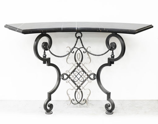 Curve bronze console with stone top - New York City
