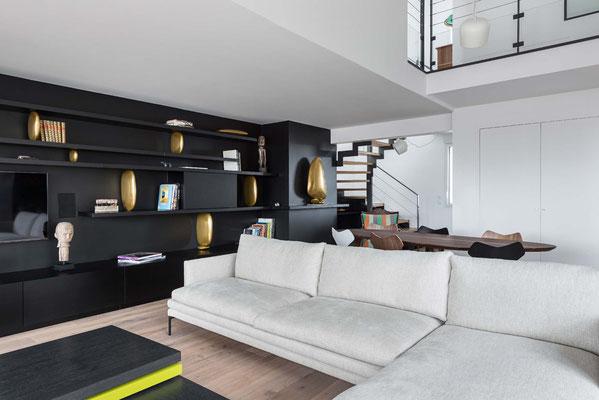 Bronze pebble sculptures - Private residence - Interior designer : Florent Lucas - Nantes