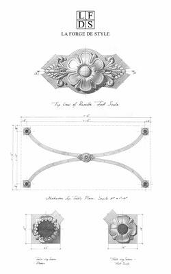 Dessin d'étude avec éléments décoratifs pour une table basse - Résidence privée
