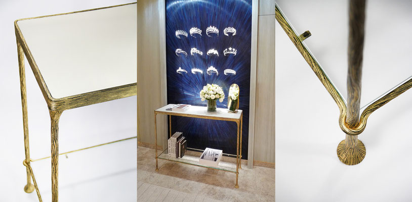 Wrought iron console with leather top - Design: Patricia Grosdemange Protected model - for Chaumet Stores