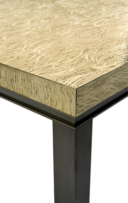 Coffee table in textured and patinated bronze for Louis Vuiton