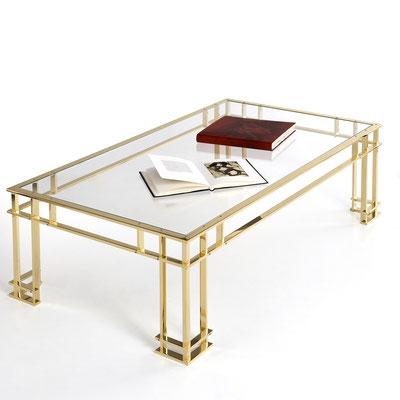 Table basse en bronze poli miroir pour les boutiques Dior